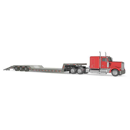 low tire: Truck with Double Drop Trailer on white background. 3D illustration, clipping path Stock Photo