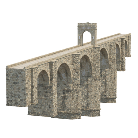 roman empire: Alcantara Bridge on white. 3D illustration