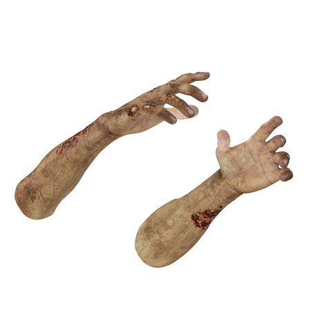 Zombie Halloween hand on white. 3D illustration, clipping path