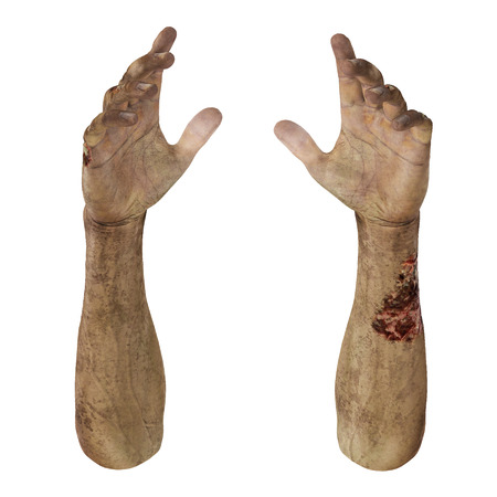 halloween background: Zombie Halloween hand on white background. 3D illustration, clipping path