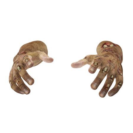 Zombie Halloween hand on white background. 3D illustration, clipping path