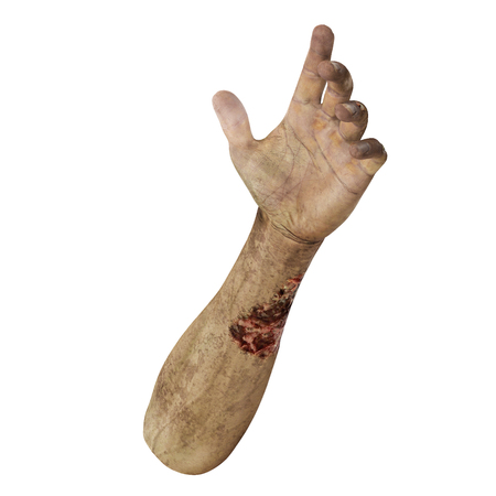 Terrible zombie hands, dirty hands of the mummy, on white background. 3D illustration, clipping path Stock Photo