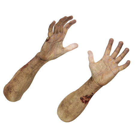 cruel: Halloween theme: terrible zombie hand on white background. 3D illustration, clipping path Stock Photo