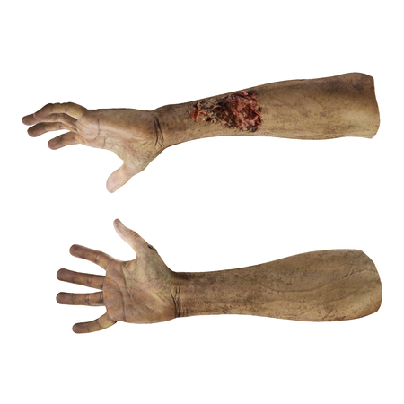 Halloween theme: terrible zombie hand on white. 3D illustration, clipping path