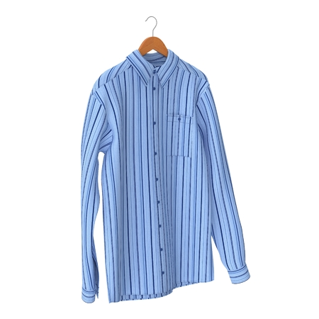 sleeve: Blue Stripped Shirt On Hanger on white background. 3D illustration Stock Photo