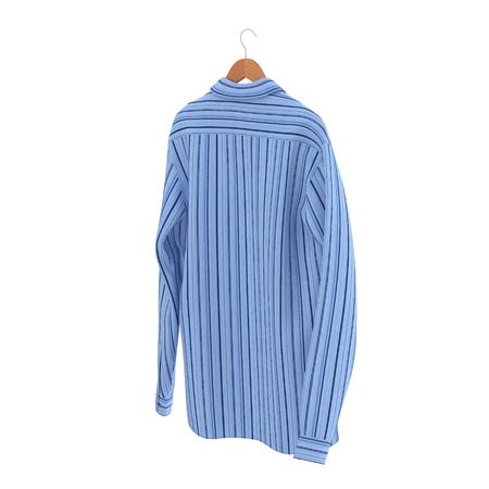 Blue Stripped Shirt On Hanger on white background. 3D illustration Stock Photo