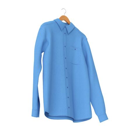 hangers: Blue Shirt On Hanger on white background. 3D illustration Stock Photo
