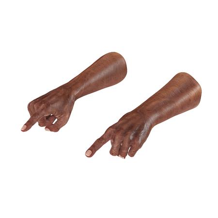 mature adult: Wrinkled on old african man hand Finger Point Pose on white. 3D illustration