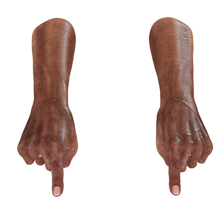 Old african man hand Finger Point Pose on a white. 3D illustration