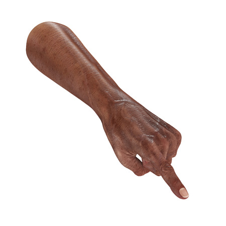 african hand of the old man Finger Point Pose isolated on a white. 3D illustration