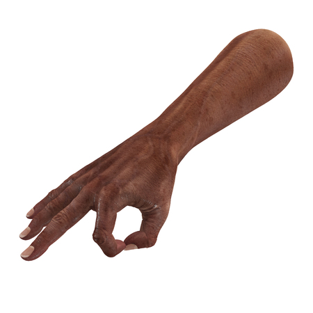 Old african man hand Ok Sign on a white. 3D illustration