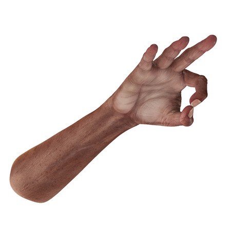 Old african hand Ok Sign on a white background. 3D illustration