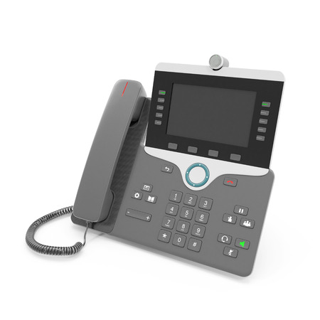 screen: Black IP phone on a white. 3D illustration