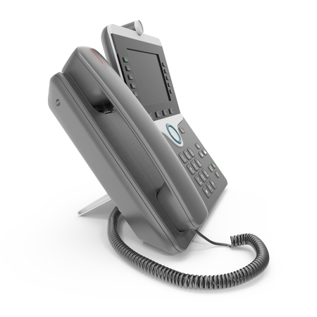 screen: Modern office phone using VoIP technology on a white. 3D illustration Stock Photo