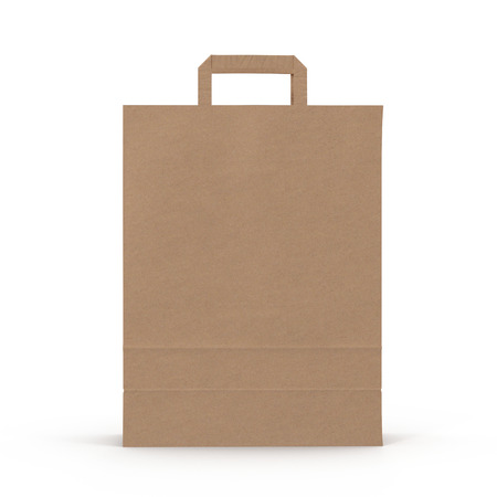 Brown Shopping Bag with Handles Isolated on White. 3D illustration