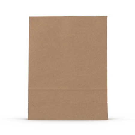 Brown paper bag on white background. 3D illustration Imagens