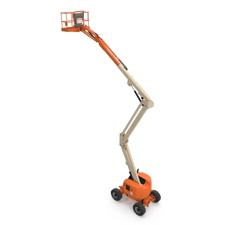 hydraulic lift: Engine Powered Scissor Lift on white. 3D illustration