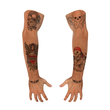Biker hands with tattoo on white background. 3D illustration Stock Photo