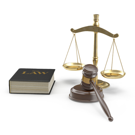 Legal Gavel Scales And Law Book on white background. 3D illustration