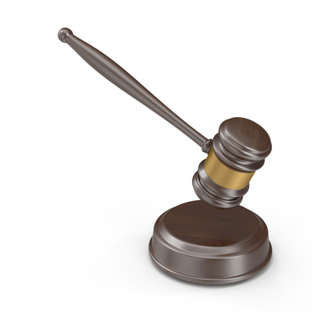 Wooden gavel isolated on white, 3D illustration Stock Photo