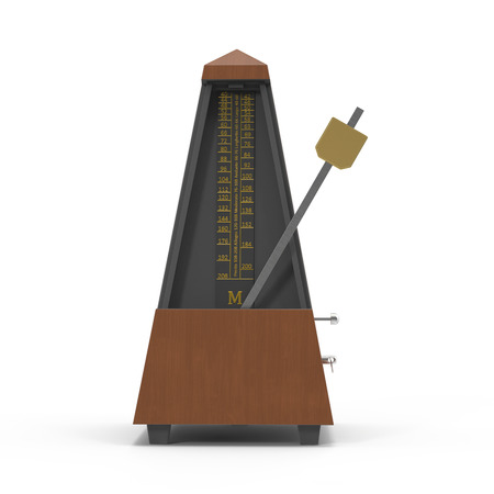 tact: Classic old metronome isolated on white. 3D illustration