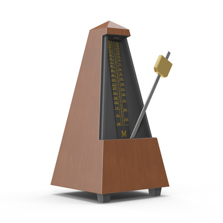 reloj de pendulo: Classic old metronome isolated on white. 3D illustration