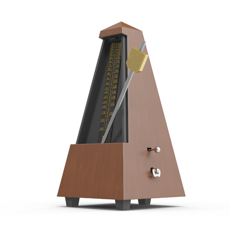 Classic old metronome isolated on white. 3D illustration