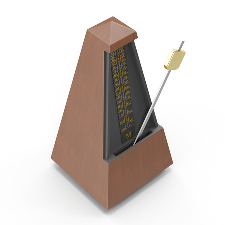 tact: Musical metronome on white. 3D illustration Stock Photo