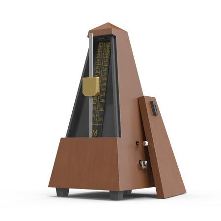 Musical metronome on white. 3D illustration Stock Photo