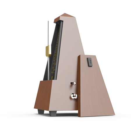 The old- fashioned metronome isolated on white. 3D illustration