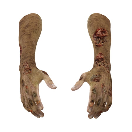 Terrible zombie hands, dirty hands of the mummy, on white. 3D illustration