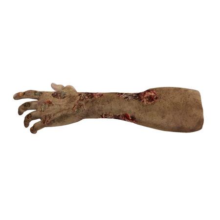 恐ろしいゾンビの手が、汚い白のミイラの手。3 D イラスト、クリッピング ・ パス