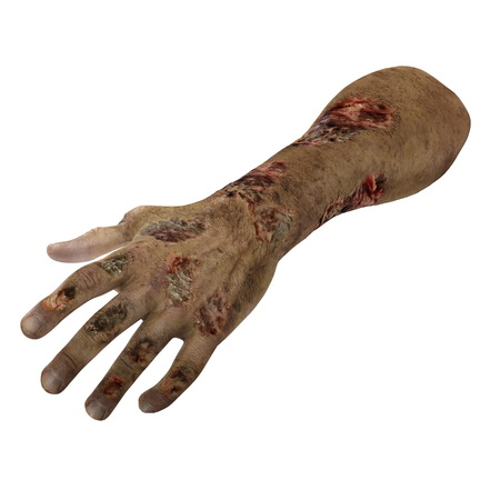 Halloween theme: terrible zombie hand on white. 3D illustration Stock Photo