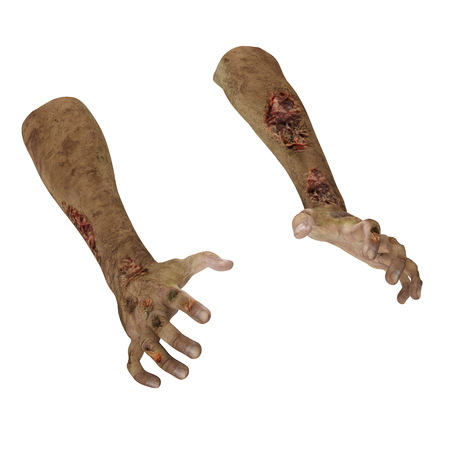 scary zombie hands on white. 3D illustration Stock Photo