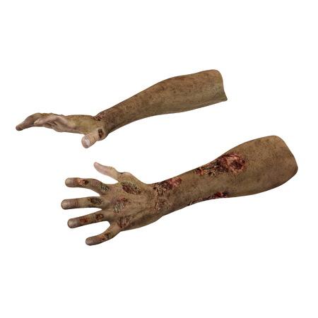Halloween theme: terrible zombie hand on white. 3D illustration Stock Photo
