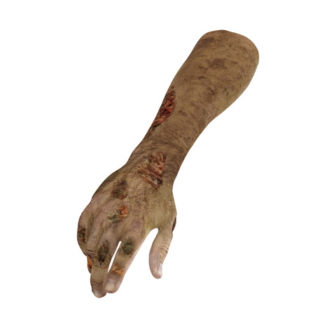 cruel: scary zombie hands on white. 3D illustration, clipping path