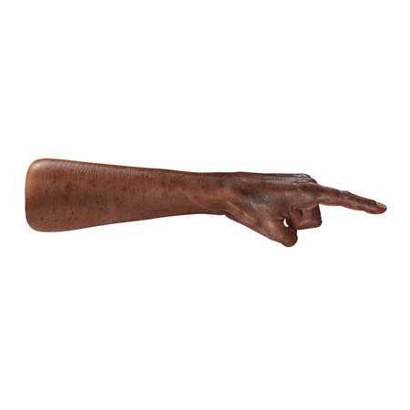 Old african hand Finger Point Pose on a white background. 3D illustration