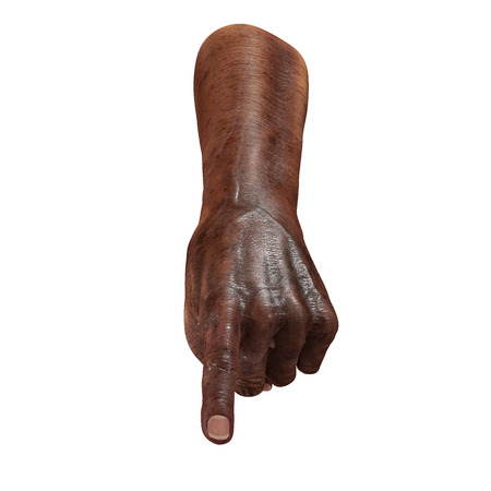 Senior hand Finger Point Pose on a white background. 3D illustration