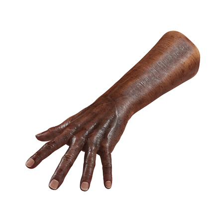 Old african man hand on a white. 3D illustration Stock Photo