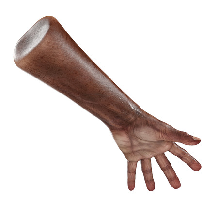 Old african man hand on a white background. 3D illustration Stock Photo