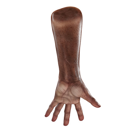 african hand of the old man isolated on a white background. 3D illustration