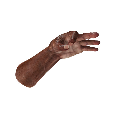Old african hand Ok Sign on a white. 3D illustration Stock Photo
