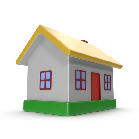 small business: House made of plastic. Isolated on white background. 3D illustration Stock Photo