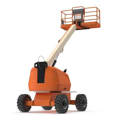 Telescopic Boom Lift on white background. 3D illustration Stock Photo