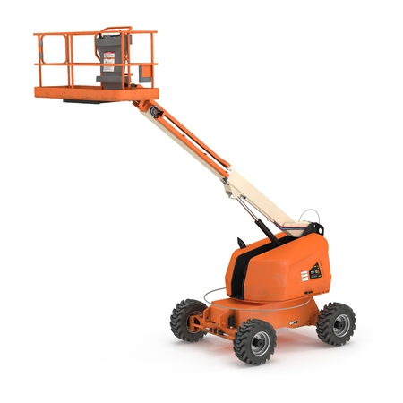 Orange self propelled articulated wheeled lift with telescoping boom and basket on white. 3D illustration Zdjęcie Seryjne