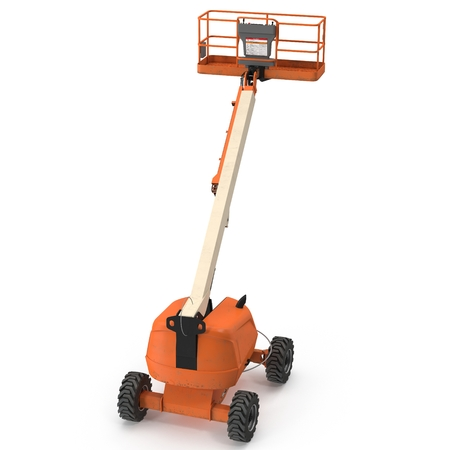 Orange self propelled articulated wheeled lift with telescoping boom and basket on white. 3D illustration Stock Photo