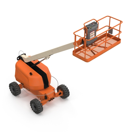 Orange self propelled articulated wheeled lift with telescoping boom and basket on white background. 3D illustration Stock Photo