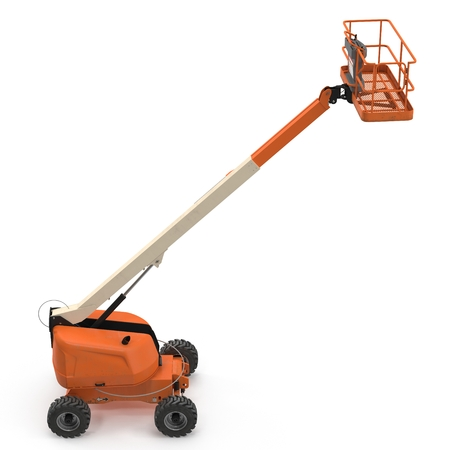 Orange telescopic boom lift on white. 3D illustration Stock Photo