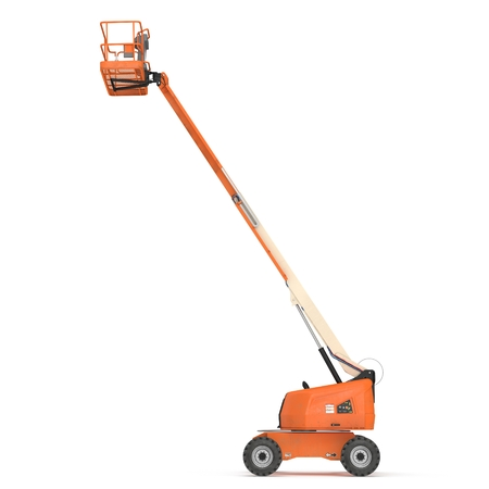 Self propelled wheeled boom lift with telescoping boom and basket on white. 3D illustration