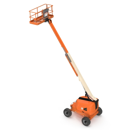 Self propelled wheeled boom lift with telescoping boom and basket on white background. 3D illustration